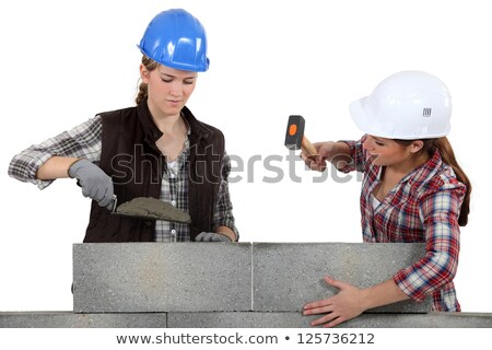 A team of tradeswomen laying cinder blocks Stock photo © photography33