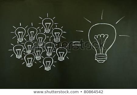 Zdjęcia stock: Pomysł · żarówka · czarny · Tablica · znak · zapytania