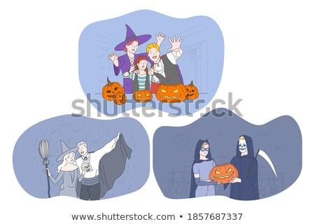 Young woman scares masked man skeleton Stock photo © pzaxe