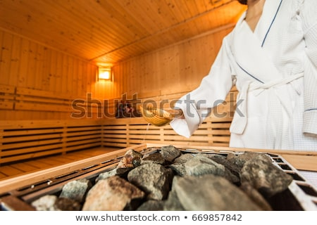 sauna · iç · ahşap · kova · ahşap - stok fotoğraf © compuinfoto