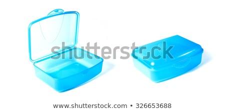 Blauw lunchbox brood appel glas drinken Stockfoto © compuinfoto