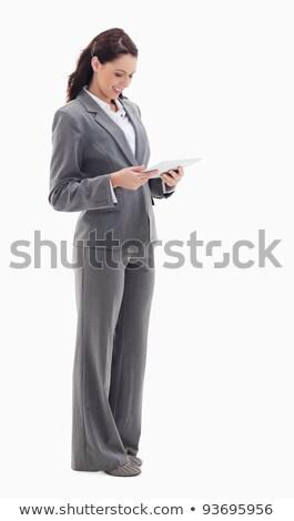 Profile femme d'affaires souriant touch blanche ordinateur Photo stock © wavebreak_media