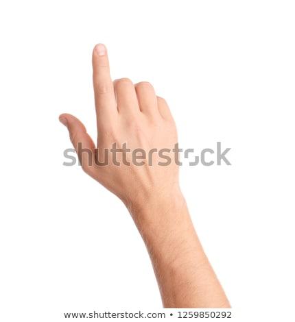 Mannelijke hand wijzend vinger tonen iets Stockfoto © Len44ik