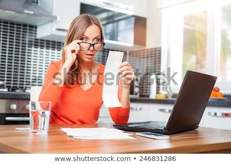 mulher · olhando · óculos · branco · feminino - foto stock © wavebreak_media