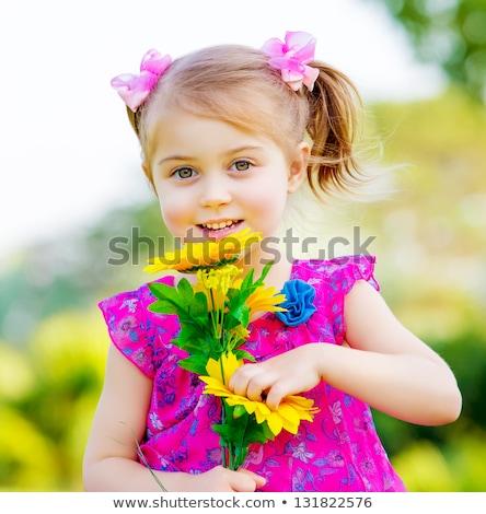 belo · little · girl · verão · girassol · campo · colorido - foto stock © lunamarina