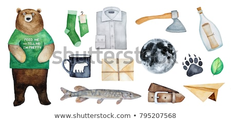 Funny man with axe on white stock photo © Elnur