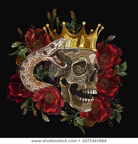 Rojo cráneo negro cuerno tribales patrón Foto stock © HunterX