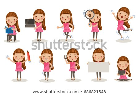 little girl with magnifying glass reading book stock photo © elisanth