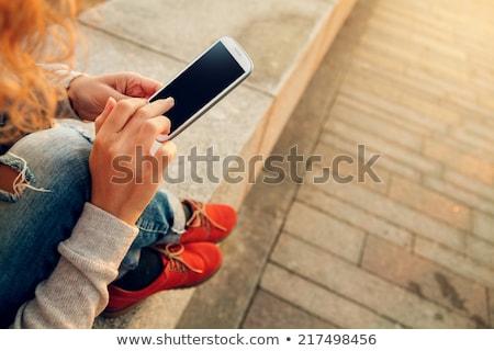 heureux · téléphone · femme · plage · photos · femme · ciel - photo stock © dolgachov
