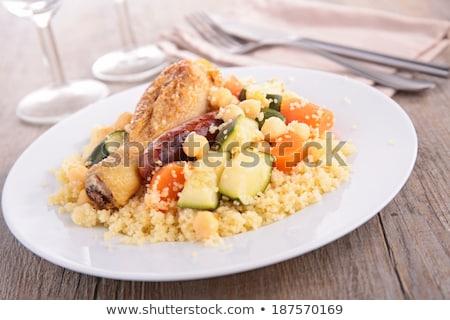 ストックフォト: 野菜 · 肉 · 食品 · 鶏 · ディナー · ニンジン