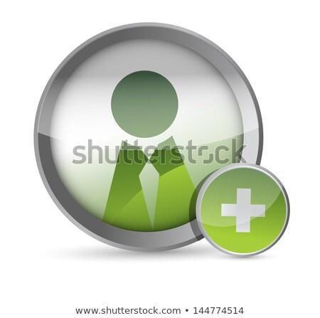Add Friend Button Icon Over White Background Сток-фото © alexmillos