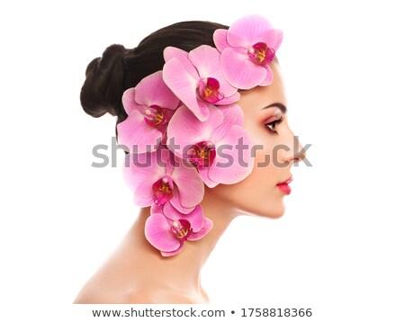 Glamour elegante mulher violeta rímel lábios Foto stock © gromovataya