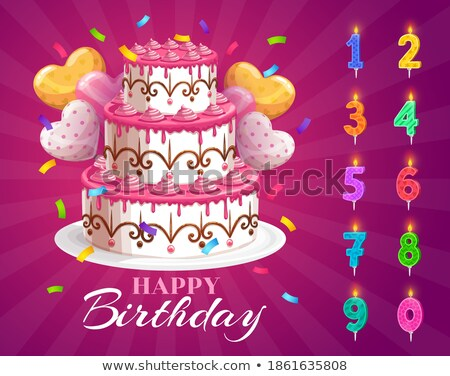 Birthday cupcake with candle number ten shape Stock photo © liliwhite