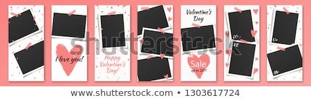 Walentynki pusty ramki obrazu red roses czarny Zdjęcia stock © marimorena