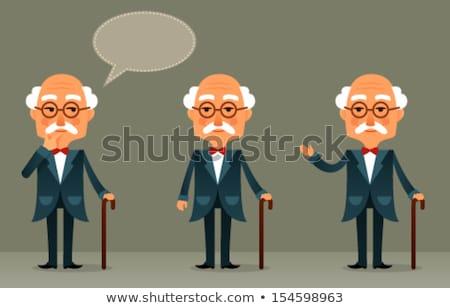 Cartoon chauve homme moustache bulle de pensée main Photo stock © lineartestpilot