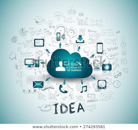 cloud computing concept with infographics sketch set design elements stock photo © davidarts