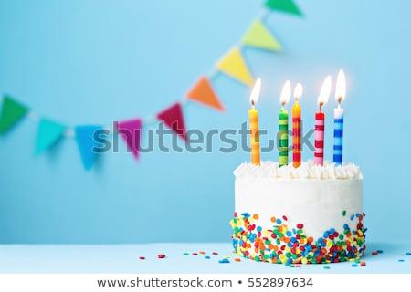 キャンドル 誕生日ケーキ 番号 孤立した 白 3dのレンダリング ストックフォト © Koufax73
