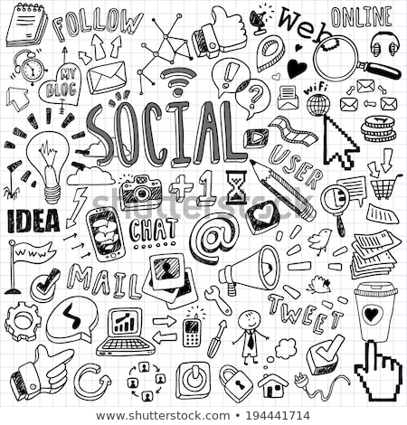 social doodle icons in cloud stock photo © netkov1