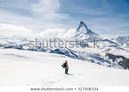 garçon · neige · colline · visage · hiver · bleu - photo stock © Paha_L