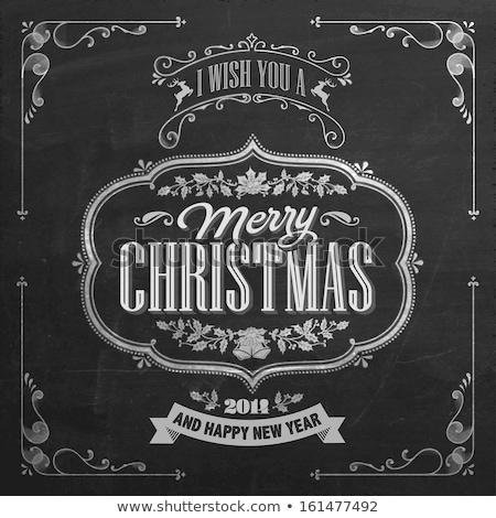 Noel bağbozumu tebeşir metin etiket tahta Stok fotoğraf © rommeo79
