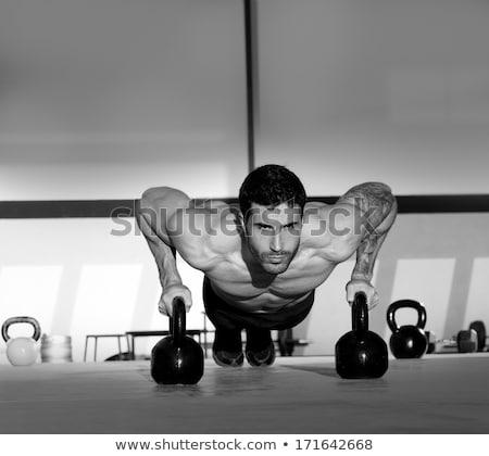 portré · izmos · férfi · emel · kettlebell · crossfit - stock fotó © wavebreak_media