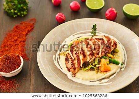 Pechuga de pollo papa rebanadas filete alimentos Foto stock © Digifoodstock