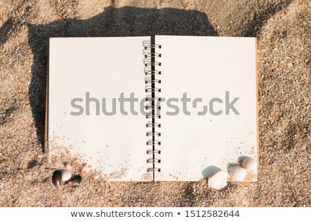 Top view of vintage open book on sandy beach Stock photo © stevanovicigor