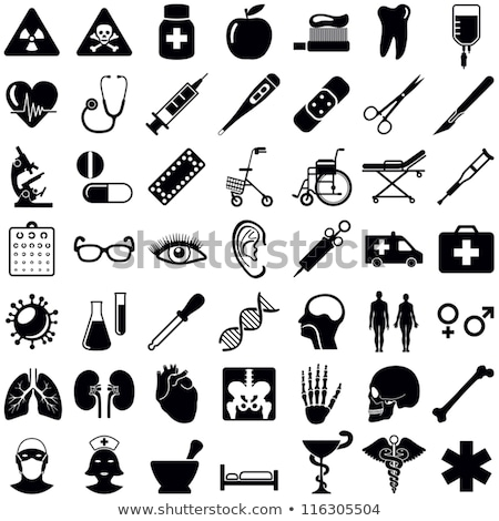 Medical and healthcare icons silhouettes Stock photo © vectorikart