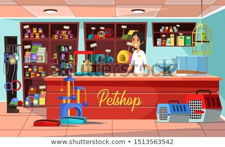 Pet shop seller at counter in store flat illustration Stock photo © vectorikart