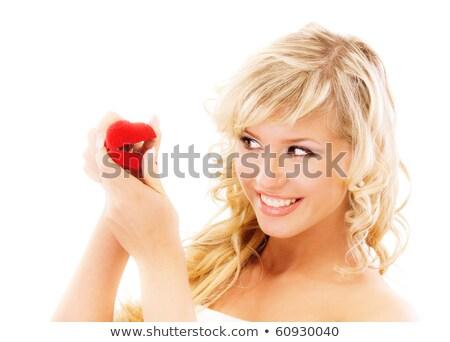 Gyűrű piros doboz szőke nő közelkép fiatal pér Stock fotó © ssuaphoto