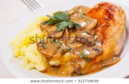 chicken breast with brown gravy sauce and mashed potato Stock photo © travelphotography