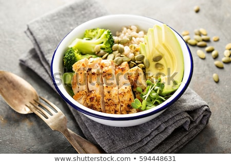grillcsirke · mell · zöldség · tyúk · vacsora · paradicsom - stock fotó © m-studio
