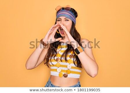 Young caucasian angry hippie woman screaming. Stock photo © RAStudio