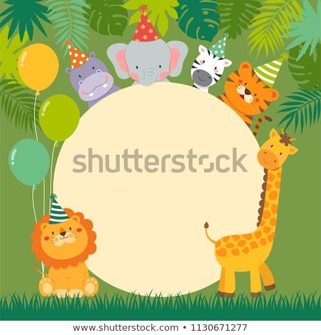 Foto stock: Fronteira · modelo · elefante · girafa · ilustração · natureza