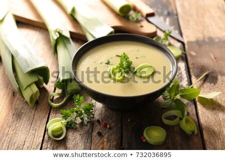 Kom prei soep voedsel diner Stockfoto © M-studio