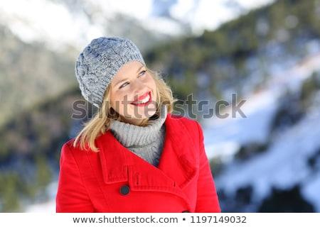 mulher · loira · fora · neve · inverno · casaco · retrato - foto stock © boggy