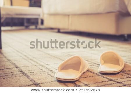 Házi cipők hálószoba padló jókedv Európa Magyarország Stock fotó © IS2