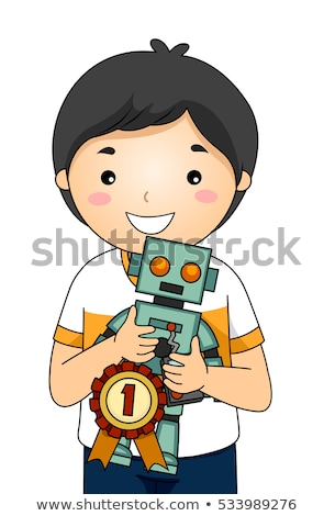 Stockfoto: Kid Boy Science Fair Robot 1st Place
