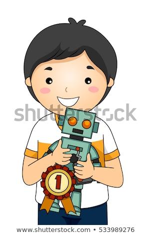 Kid Boy Science Fair Robot 1st Place Stock photo © lenm