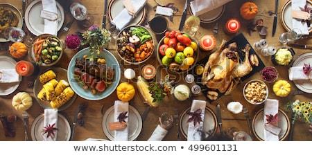 Stockfoto: Vallen · tabel · dankzegging · dag · viering · donkere