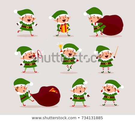 Rajz mosolyog karácsony manó kalap karácsony Stock fotó © cthoman