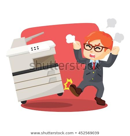 Angry Cartoon Fax Machine Stock photo © cthoman