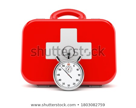 First aid kit and stopwatch on white background. Isolated 3D ill Stock photo © ISerg