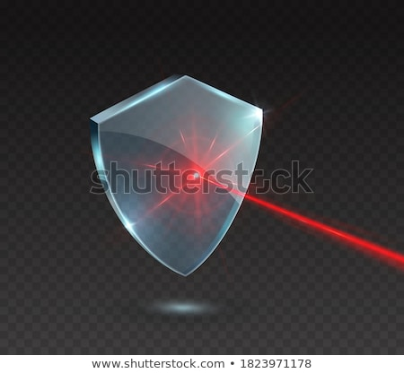 Transparente rojo vidrio escudo icono marco Foto stock © olehsvetiukha