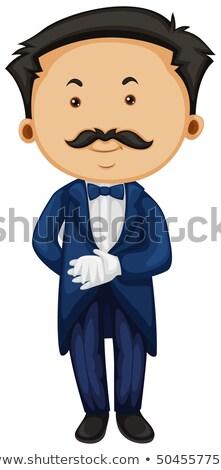 Butler bleu homme fond costume Ouvrir la Photo stock © colematt