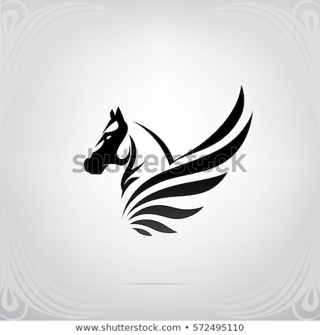 ストックフォト: シルエット · 神話の · 馬 · グラフィック · デザイン · 背景
