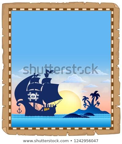 Pirata tópico pergaminho papel pôr do sol luz Foto stock © clairev