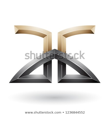 Beige and Black Bridged Embossed Letters of A and G Vector Illus Stock photo © cidepix