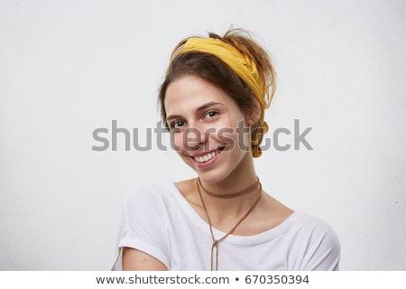 Gelukkig vrouw sjaal geïsoleerd Geel Stockfoto © deandrobot