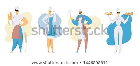 bakker · illustratie · gelukkig · presenteren · vers - stockfoto © colematt